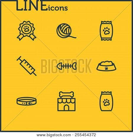 Vector illustration of 9 fauna icons line style. Editable set of clew, kibble, pet food and other icon elements. poster