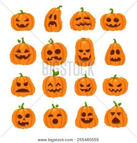 Cartoon Halloween Pumpkin. Orange Pumpkins With Carving Scary Smiling Faces. Decoration Gourd Vegeta