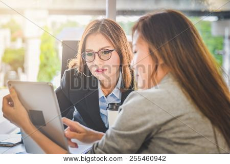 Business Woman People Presenting Business Planning Or Finance Report From Tablet For Young Ceo In Of