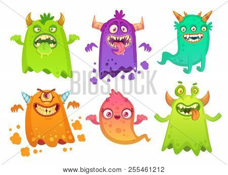 Cartoon Monster Ghost. Angry Scary Monsters Mascot Characters, Goofy Alien Creature And Gremlin Char