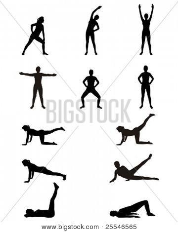 Woman siluettes. Gym exercises.