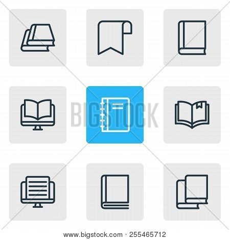 Vector Illustration Of 9 Read Icons Line Style. Editable Set Of Ribbon, Tutorial, Ebook And Other Ic