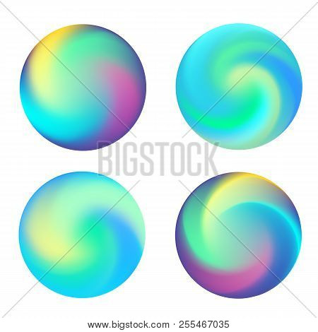 Rounded Holographic Neon Vibrant Gradient Button. Multicolor Blurs Gradient, Colorful Buttons, Vivid