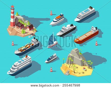 Isometric Ships. Boats And Sailing Vessels, Ocean Tropical Island With Lighthouse And Beach. 3d Vect