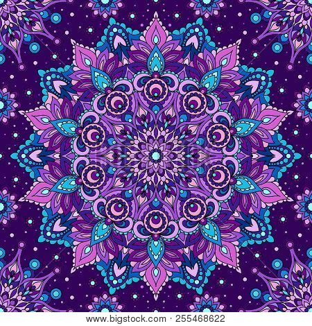 Seamless Pattern Purple Mandala. Decorative Oriental Element. For The Design Of Fabrics, And Wallpap