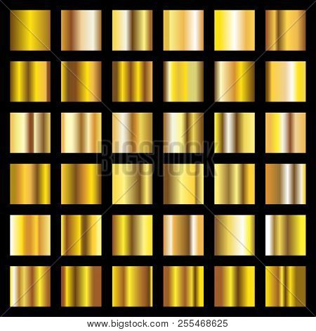 Gold Gradient. Golden Metal Squares Vector Collection. Metal Shiny Golden, Gold Square Smooth Illust
