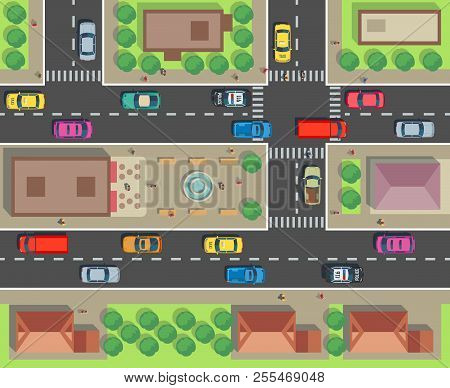 City Top View. Building And Street With Cars And Trucks. Urban Traffic Vector Map. Illustration Of S