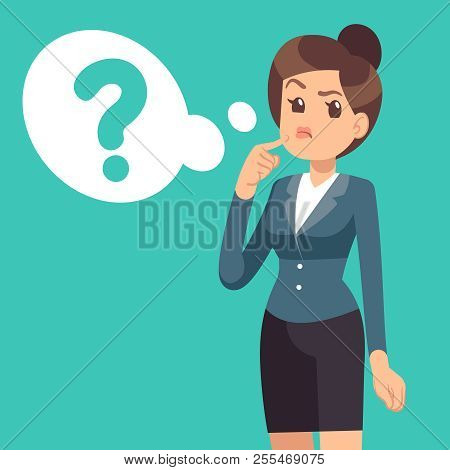Confused Businesswoman. Thinking Girl And Cloud With Questions Mark. Business Vector Concept. Questi
