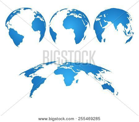 Earth Globe. 3d World Map With Silhouette Continents And Oceans. Vector Isolated Set. Illustration O
