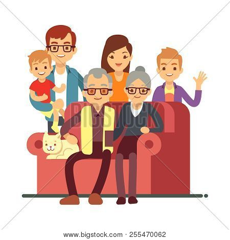 Cartoon Style Family Isolated On White Background. Grandparents Day Happy Old Couple With Grandsons.