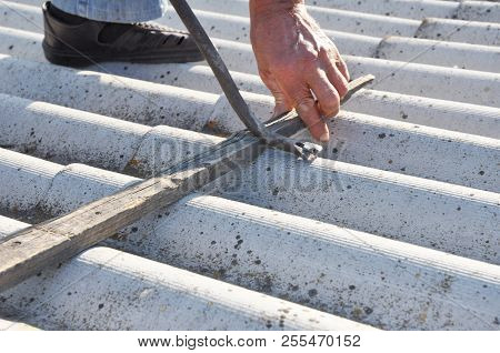 Asbestos Removal. Roofer Safe Handling and Removal of Asbestos. Roofing construction. poster