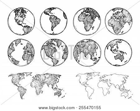 Globe Sketch. Hand Drawn Earth Planet With Continents And Oceans. Doodle World Map Vector Illustrati