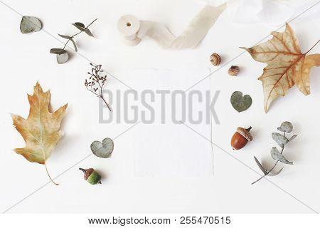 Autumn Styled Stock Photo. Feminine Wedding Desktop Stationery Mockup Scene With Blank Greeting Card