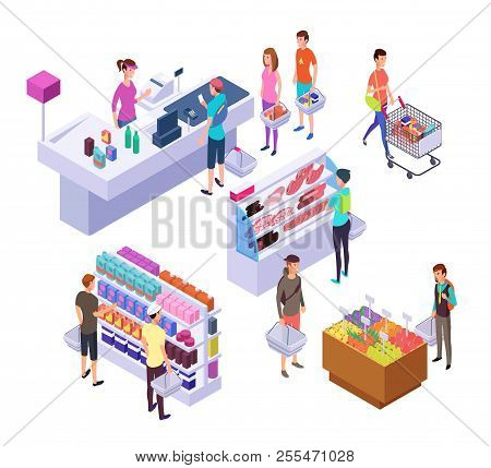 Isometric Grocery Store. 3d Supermarket Interior With Shopping People Customers And Products. Retail