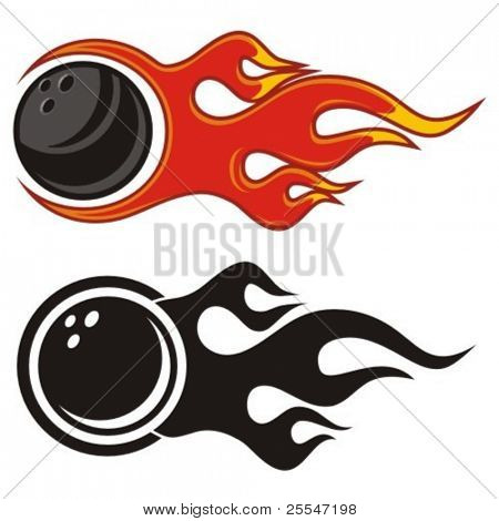 Flaming bowling ball. Vector illustration.