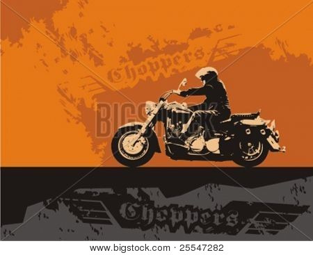 Chopper with rider. Vector grunge background illustration.