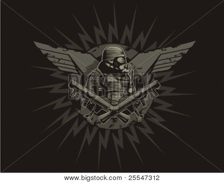 Insignia with soldier, grenade launcher and wings.