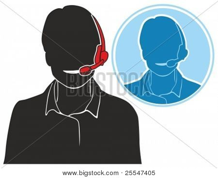 Vector silhouette icon of support phone operator in headset.