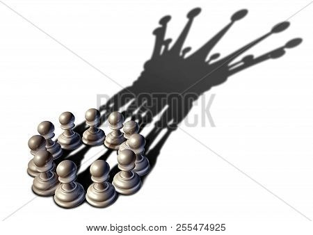 Concept Of Business Leadership As A Group Of Chess Pawn Pieces Gathering Together As A Team To Lead
