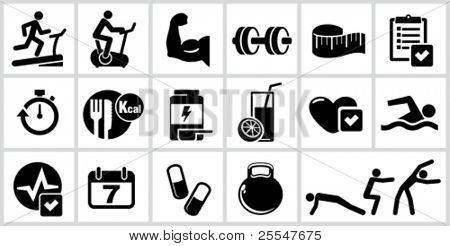 Vector bodybuilding icons set. All white areas are cut away from icons and black areas merged.