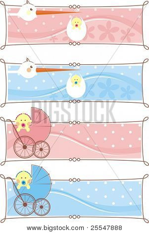 Newborn set banners.Two colors for boys and girls.Easy to change color.