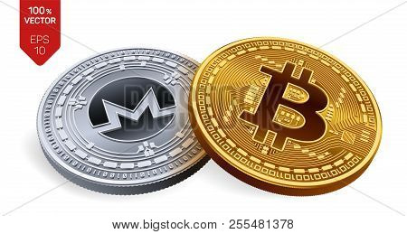 Bitcoin. Monero. 3d Isometric Physical Coins. Digital Currency. Cryptocurrency. Silver Coin With Mon
