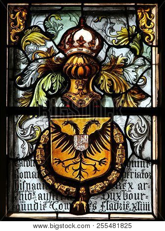 Stained Glass In Bruges - Double Headed Eagle