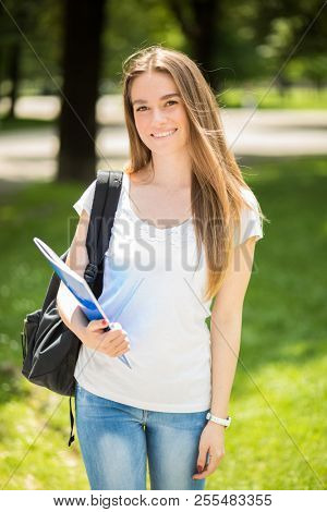 Smiling student outdoor