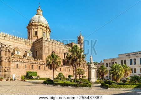 Palermo, Sicily, Italy - October 6, 2017: View Of Palermo Cathedral, Metropolitan Cathedral Of The A