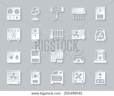 Hvac Paper Cut Art Icons Set. 3d Sign Kit Of Climatic Equipment. Fan Pictogram Collection Includes C