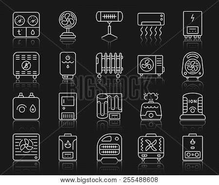 Hvac Thin Line Icons Set. Outline Web Sign Kit Of Climatic Equipment. Fan Linear Icon Collection Inc