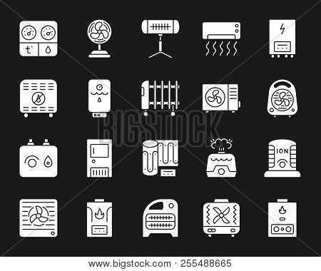Hvac Silhouette Icons Set. Isolated Sign Kit Of Climatic Equipment. Fan Monochrome Pictogram Collect