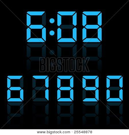 Blue Clock Digits