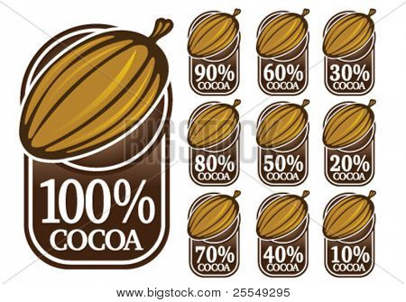 100% Cocoa Seals / Marks / Icons