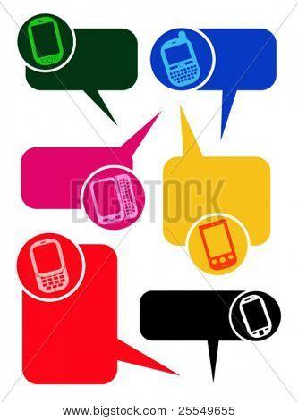 Smartphones Dialogfeld Blasen in Vektoren
