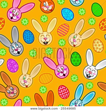 Easter seamless pattern with rabbits and eggs in orange background