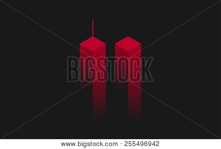 911 Twin Towers, New York Vector Illustration. 911 Attack Remembrance Memorial Day Illustration. Sep