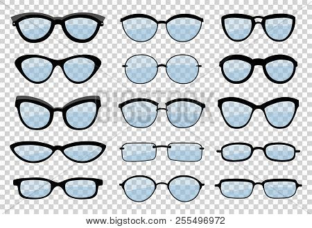 A Set Of Glasses Isolated. Vector Glasses Model Icons. Sunglasses, Glasses, Isolated On White Backgr