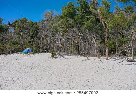 A Blue Tourist Shade Tent On The White Silica Sand Of Whitehaven Beach In The Whitsunday Islands Of