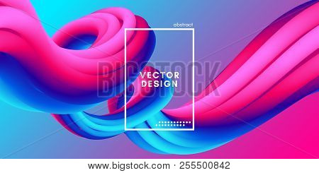 Abstract Wave Liquid Shape. Colorful 3d Flow Design. Trendy Rainbow Gradient In Pastel Colors For Wa