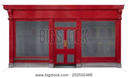Storefront Facade With Red Front View In Wood. Two Shop Windows And A Door In The Middle Isolated On