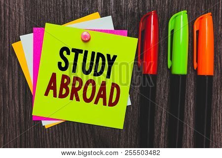 Conceptual Hand Writing Showing Study Abroad. Business Photo Showcasing Pursuing Educational Opportu