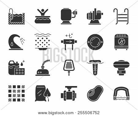 Swimming Pool Equipment Silhouette Icons Set. Monochrome Sign Kit Of Construction. Repair Pictogram