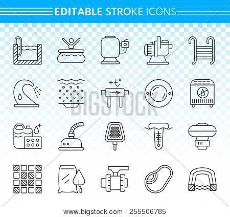 Swimming Pool Thin Line Icons Set. Outline Sign Kit Of Spares. Repair Equipment Linear Icon Collecti