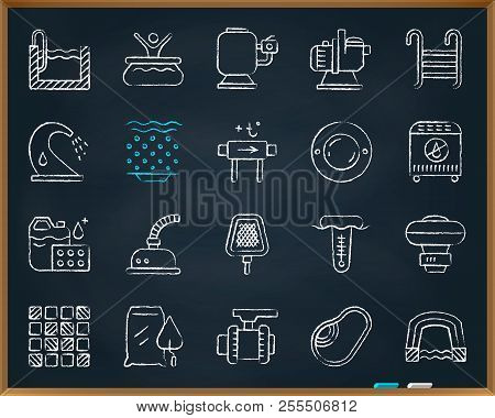 Swimming Pool Equipment Chalk Icons Set. Outline Web Sign Kit Of Construction. Repair Linear Icon Co