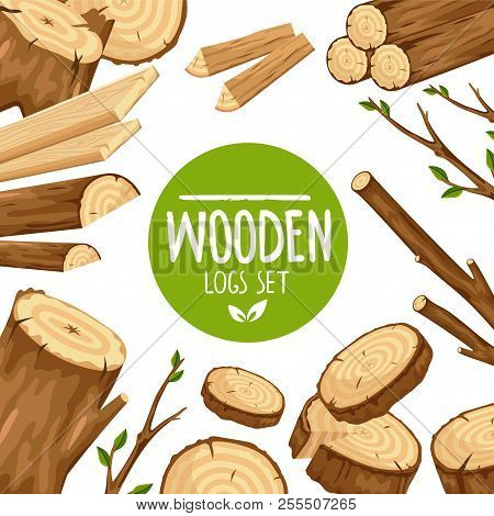 Creative Design Of Banner With Round Emblem Wooden Logs Set In Arrangement With Wood Stubs And Branc