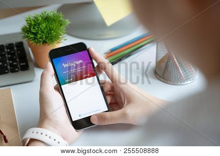 Chiang Mai, Thailand - June 15, 2018: A Man Holds Apple Iphone With Instagram Application On The Scr