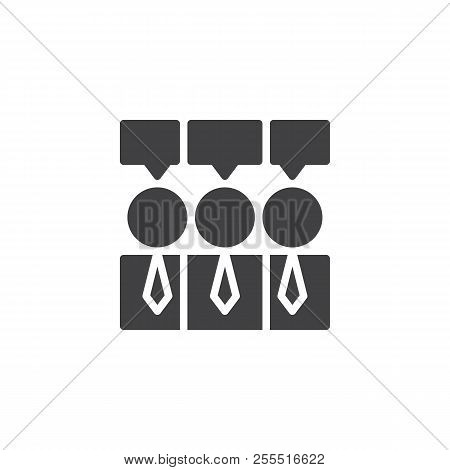 Consensus Vector Icon. Filled Flat Sign For Mobile Concept And Web Design. Businessmen And Speech Bu