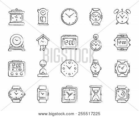 Watch Charcoal Icons Set. Grunge Outline Sign Kit Of Alarm Clock. Clock Linear Icon Collection Inclu