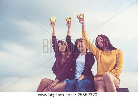 Happy Group Of Asia Girl Friends Enjoy Laughing And Cheerful Toast Sparkling Wine Glass At Rooftop P